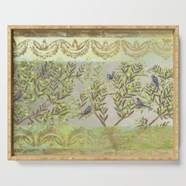 Twittering // birds // gossiping // tree branches Serving Tray