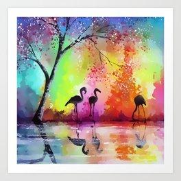 Flamingos Landscape Art Print