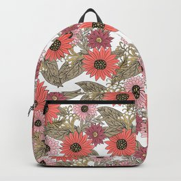 Girly blush pink coral gold modern floral Backpack