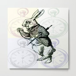 White Rabbit Time Metal Print