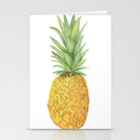 pinapple Stationery Cards featuring Sketched pineapples by Clare Stoffels