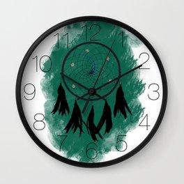 Dreamcatcher crow: Green background Wall Clock