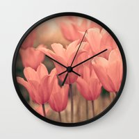 tulips Wall Clocks featuring Tulips by Maria Heyens