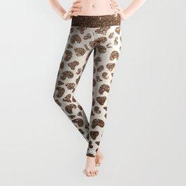 Chic ivory brown glitter gradient animal print pattern Leggings