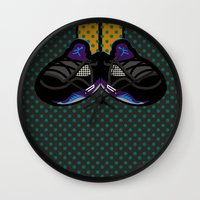 air jordan Wall Clocks featuring AIR JORDAN 5 BLACK by originalitypieces