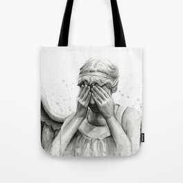 Weeping Angel Watercolor Painting Tote Bag