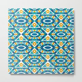 Orange teal watercolor moroccan motif pattern Metal Print