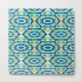 Orange teal watercolor moroccan motif pattern Metal Print