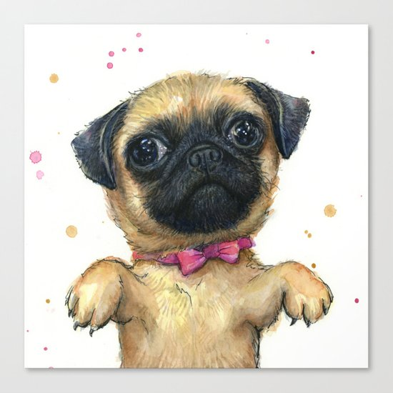 Cute Pug Puppy Dog Watercolor Painting Canvas Print