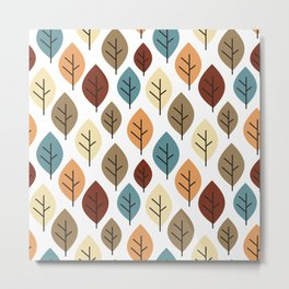 cute colorful autumn fall pattern background illustration with leaves Metal Print