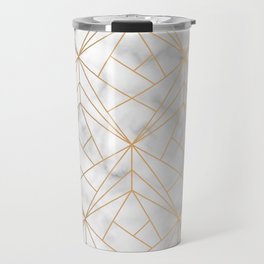 Geometric Gold Pattern on Marble Texture Travel Mug