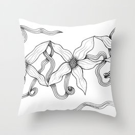 Huia Art Clematis Ribbon Throw Pillow