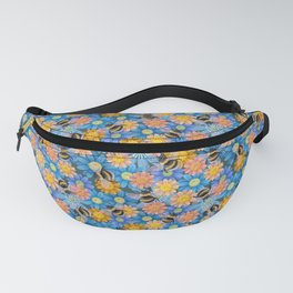 Bumblebees on blue flowers Fanny Pack