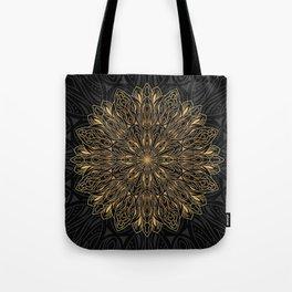 MANDALA IN BLACK AND GOLD Tote Bag