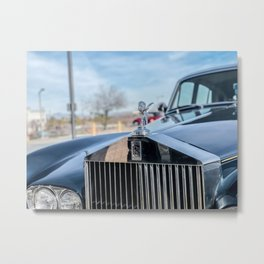 Vintage Car // Rolls Blue Paint Hood Ornament Silver Grille Classic Metal Print