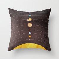 solar system Throw Pillows featuring Solar System by Annisa Tiara Utami