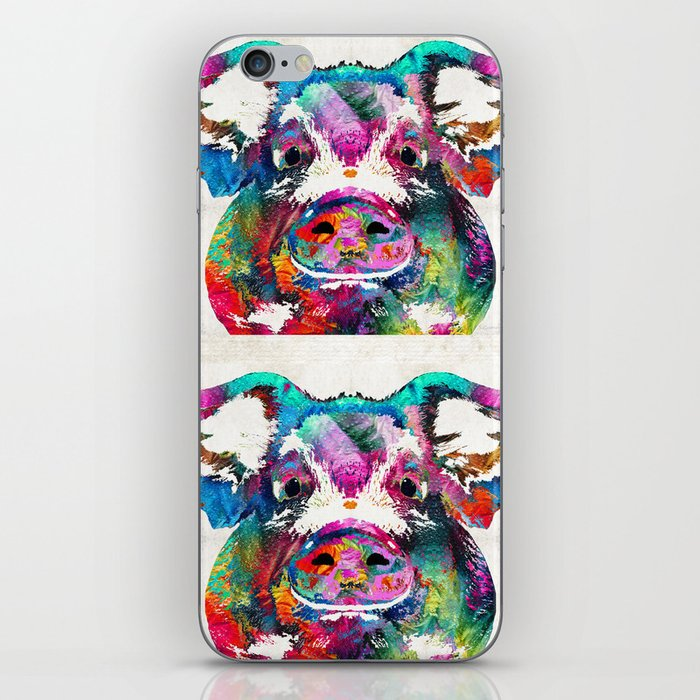 Colorful Pig Art - Squeal Appeal - By Sharon Cummings iPhone Skin