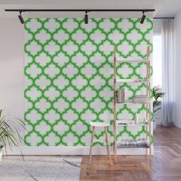Moroccan Lattice, Oriental Pattern, seamless Morocco Design , green, white Wall Mural