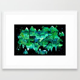 Order of Nature - geometric acrylic landscape painting Framed Art Print