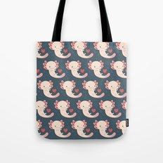 Axolotls, hearts and bubbles Tote Bag