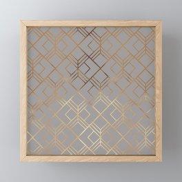 Modern elegant gray gold foil geometrical gradient Framed Mini Art Print