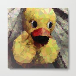 Geometric Yellow Rubber Duck Metal Print