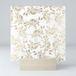 Vintage white faux gold roses floral Mini Art Print