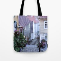 norway Tote Bags featuring Bergen - Norway  by Cynthia del Rio