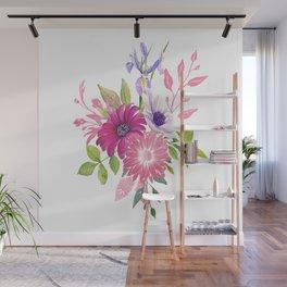 Flowers bouquet, Iris, Dalia, and Gerber Wall Mural