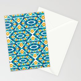 Orange teal watercolor moroccan motif pattern Stationery Cards
