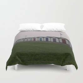 Preston Beach Huts On A Foggy Morning Duvet Cover