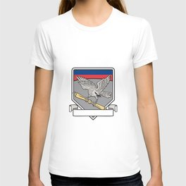 Shrike Clutching Propeller Blade Shield Retro T-shirt