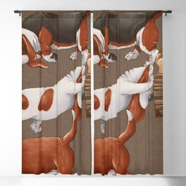 Basset Hound dogs are carrying a cart with pumpkins. Harvesting. Seamless pattern on a brown background.  Blackout Curtain