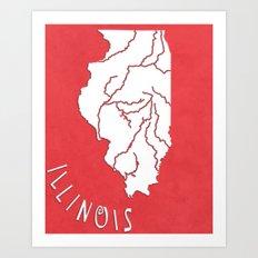 Illinois State Map Art Print