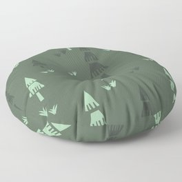 Green Forest Trees Floor Pillow