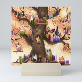 The library in the tree Mini Art Print