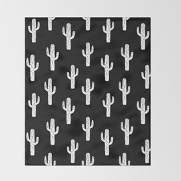 Cactus linocut pattern black and white minimal desert southwest socal joshua tree Throw Blanket