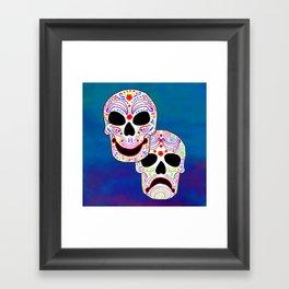 Comedy-Tragedy Colorful Sugar Skulls Framed Art Print