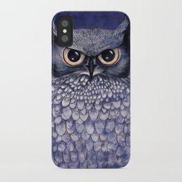 La Sagesse du Hibou (The Blue Owl) iPhone Case