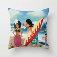 surfer Throw Pillows featuring Surfer by colortown