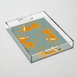 Leopard Race - blue Acrylic Tray