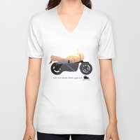 motorbike V-neck T-shirts featuring motorbike- photo of freedom by GO-BIKE-GO