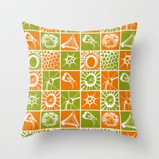 Microscopic Life Sillouetts Orange and Green Throw Pillow