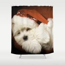Sleepy Santa Puppy Shower Curtain