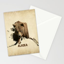 Alaskan Grizzly Map Stationery Cards