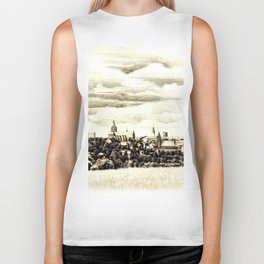 PANORAMA OF A GOTHIC CITY CHELMNO IN POLAND MADE IN FIGURATIVE STYLE Biker Tank
