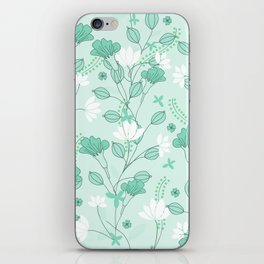 Vintage flowers in a green background iPhone Skin
