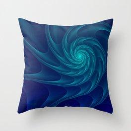 Aqua Blue Nautilus Sea Shell Throw Pillow