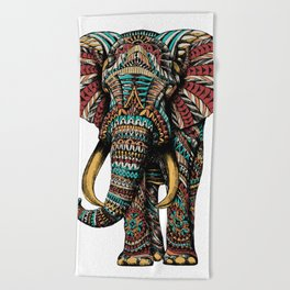 Ornate Elephant (Color Version) Beach Towel