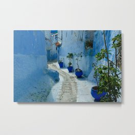 Colorful Blue Flowerpots Morocco Metal Print